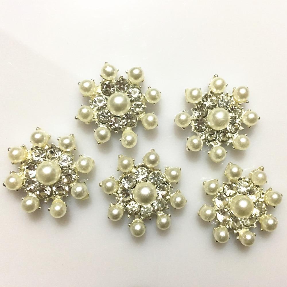 10pcs Gold Flower Rhinestone Pearl Flatback Buttons for Wedding Decor 27mm
