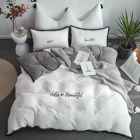 Embroidery 4 Pcs Bedding Set Hello Beautiful Duvet Cover Pillowcase Bedsheet Full Twin Queen Size Washed Cotton Bed Linen