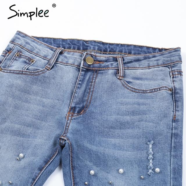 Skinny Pearl Hole Denim Jean