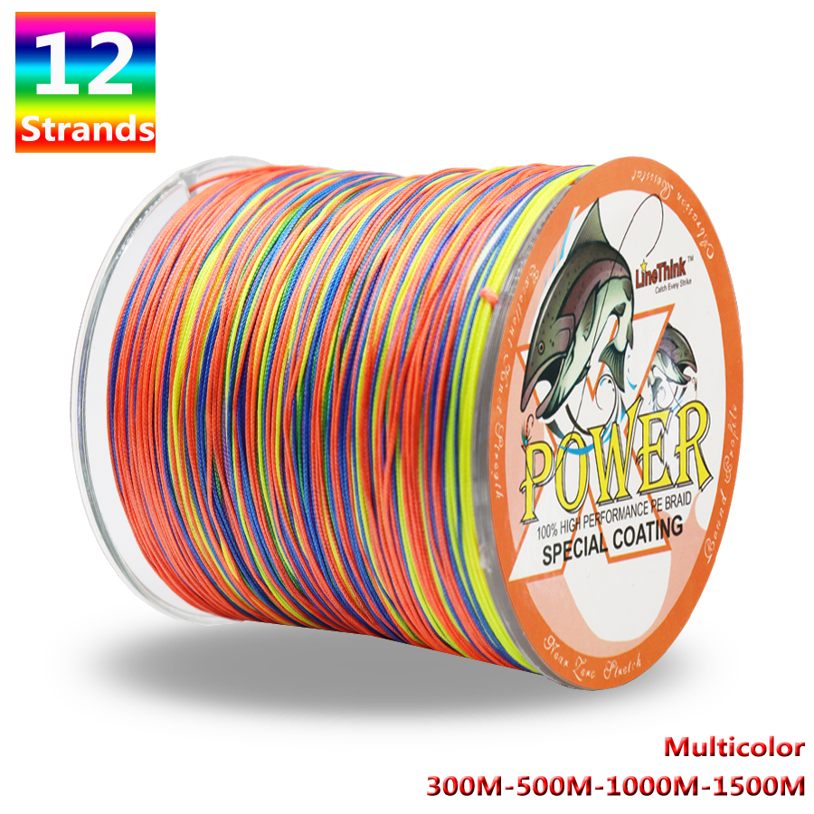 Potência 12 fios trançado linha de pesca 300m 500m 1000m 1500m multicolorido super forte japão multifilamento pe trança 35lb-180lb