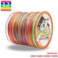 Мощная 12 прядей плетеная леска 300 м 500 м 1000 м 1500 м многоцветная супер прочная японская многонитевая PE плетеная леска 35LB-180LB рыбалка аксесуары