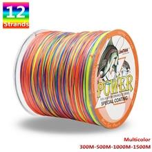Power 12 Strands Braided Fishing Line 300m 500m 1000m 1500m Multicolor Super Strong Japan Multifilament PE Braid Line 35LB 180LB