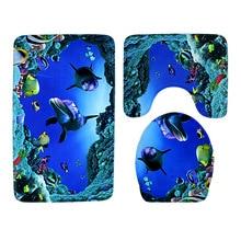 NEW WILLOW Flannel toilet seat bathroom carpet 3 piece set dolphin shark printing bathroom anti-skid absorbent floor mat