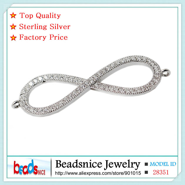 Beadsnice ID28351 popular design pure 925 silver infinity connector charms wholesale factory price diy connectors for jewelry