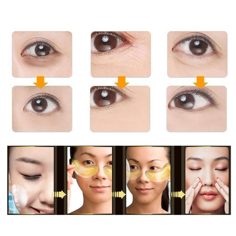 60Pcs Beauty Korean Cosmetics 24K Gold Crystal Collagen Eye Mask Eye Patches  Anti Aging Acne Moisture Patches For Eye Skin Care