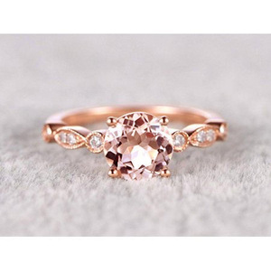 Huitan Delicate Wedding Ring with shiny imitate round CZ rose gold Halo Cubic Zirconia Engagement Bridal Rings for Women Girls