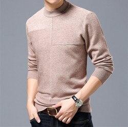 Promos chèvre cachemire épais tricot hommes nouvelle mode pullover décontracté pull demi-col montant couleur unie S/105-3XL/130