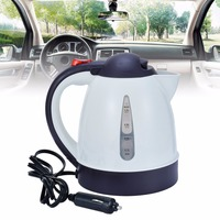 1000ml 304 Stainless Steel + ABS White Car Kettle Portable 12V Auto Tea Coffee Water Electric Heater Travel Kettle Kit