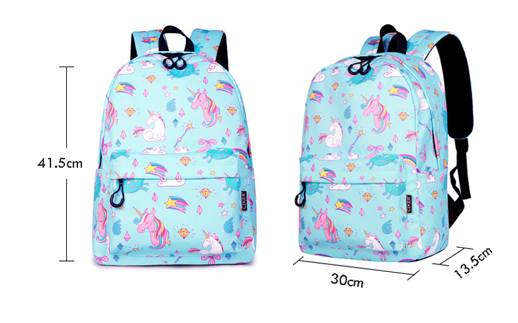 WINNER School Backpack Cartoon Rainbow Unicorn Design Water Repellent Backpack For Teenager Girls School Bags Mochila (10)