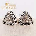 Rhinestone Hollow Triangle Stud Earrings Antique Vintage Silver Plated  Bohemia Ethnic  Wedding  UVOGUE Brand Jewelry For Women