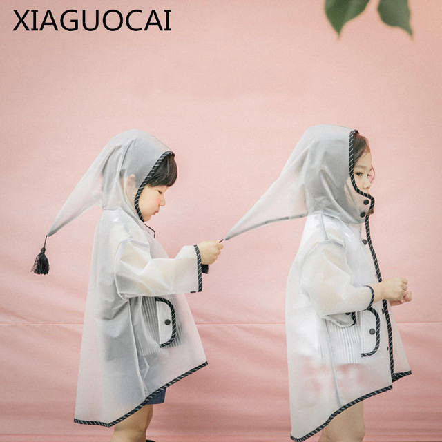 2018 New Arrivals Children waterproof Transparent Coat Rain Wear Boys Girls Tassel cap Hooded Kids  Hot Selling Clothes C61 10