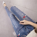 Feminino mujer vaqueros de cintura alta flaco ripped jeans para mujeres pantalones vaqueros calientes femme ropa americana de mezclilla pantalones vaqueros mujer jean