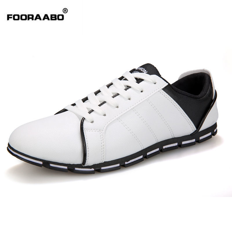 Fooraabo New 2017 Spring Autumn Men Casual Shoes Leather White Mens Shose Moccasin Luxury Brand Designer Flats Chaussures Homme цены онлайн