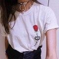 2016 Summer New Fashion Halajuku Rose Flower Printed Short Sleeve Female T-shirt