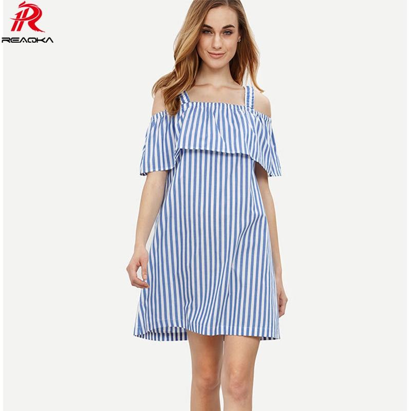 52b835cd5fba5 Reaqka kadınlar Off-omuz Stripes plaj yaz Elbise 2017 Kolsuz Gevşek Moda  seksi bandaj Mini Elbiseler casual sundress