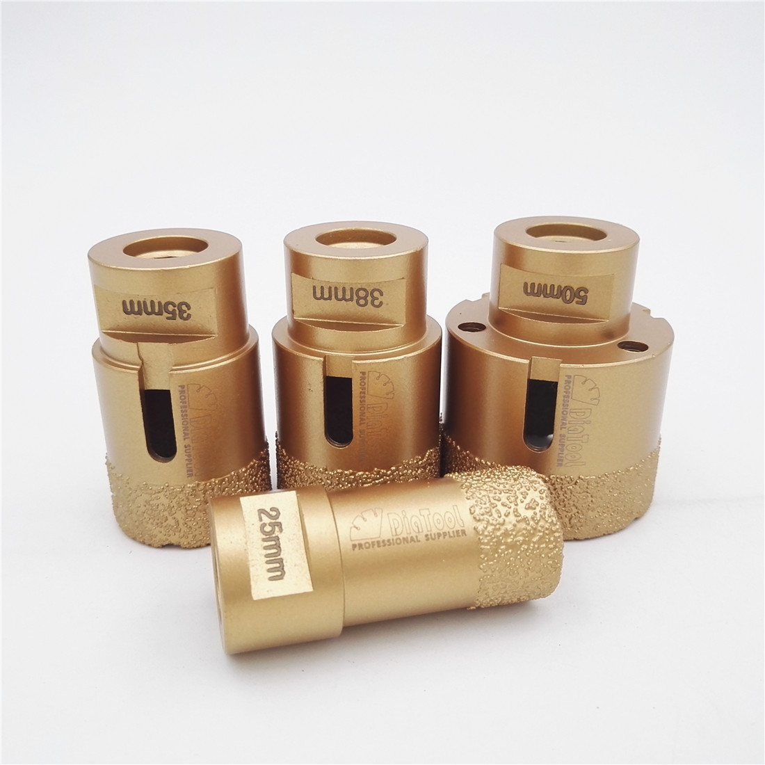 DIATOOL 4pcs Diamond Vacuum Brazed Drilling Core Bits With M14 Connection 15MM Diamond Height For Granite
