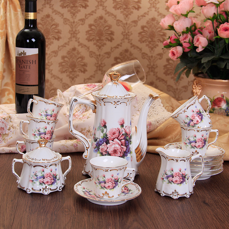 Full Set Luxury Rose Bone China Coffee Drinkware Porcelain