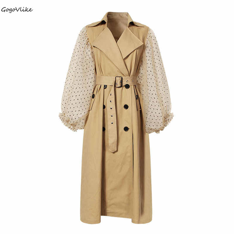 Khaki   Trench   Coat Mesh Sleeve 2018 Women Elegant Long Windbreaker Double Breasted with Belt Pockets Chic Outwear Europe LT307S50
