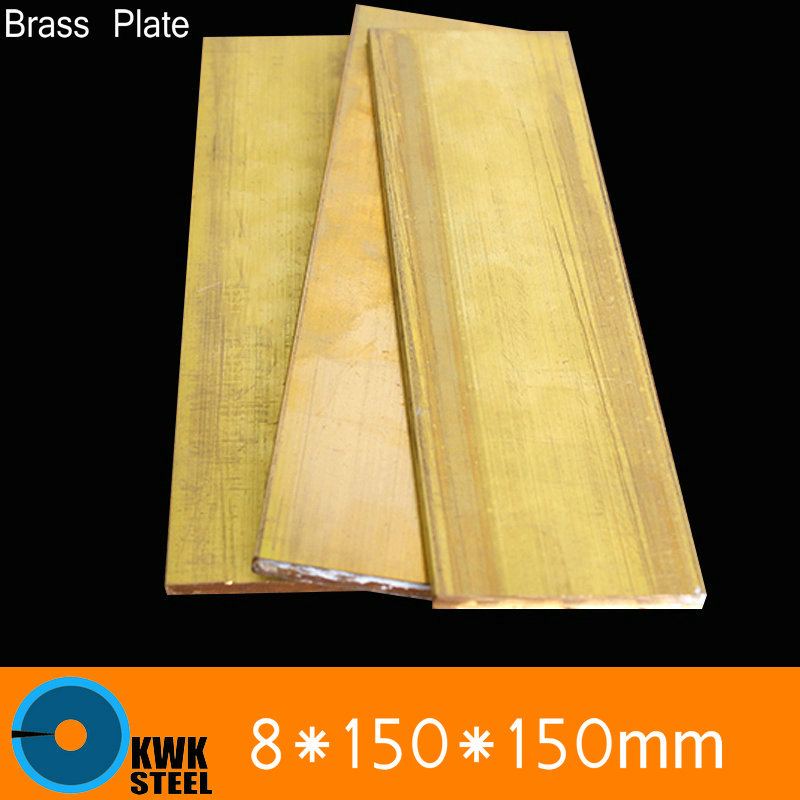 ФОТО 8 * 150 * 150mm Brass Sheet Plate of CuZn40 2.036 CW509N C28000 C3712 H62 Mould Material Laser Cutting NC Free Shipping