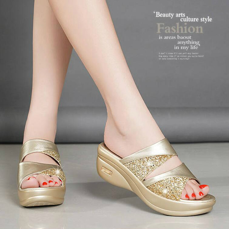 Sequins Mid-heeled Slippers New Mother Shoes Woman Leather Sandals Women Soft Bottom Slippers Female Summer Outdoor Shoes W305 5