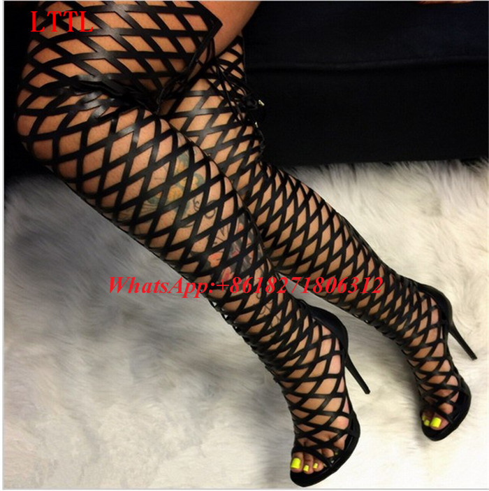 Chaussure Femme Cut Outs Gladiator Sandal Boots Sexy High Heel Platform Strappy Sandals Lace Up Thigh High Booties Summer Shoes back zipper tassel sandals 2017 summer style cut outs gladiator booties black leather stiletto high heels platform short boots