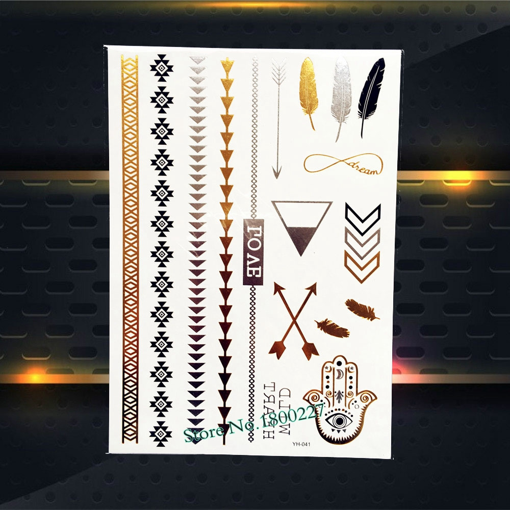 1PC Nontoxic Flash Gold Metallic Tattoo Hamsa Hand Arrow Feather Design Women Arm Leg Jewelry Temporary Bracelet Tattoo Stickers