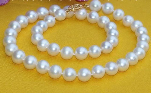 Woman natural  Exquisite 10MM WHITE AKOYA SHELL PEARL NECKLACE 18-jewelry Woman natural  Exquisite 10MM WHITE AKOYA SHELL PEARL NECKLACE 18-jewelry