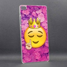 Funny Queen Emoji Porpular Cool High Quality UV Black Bag Case For huawei P8