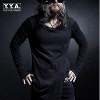 Street Fashion Hip Hop Male Clothes Tshirt Homme Skate Mens Clothing Long Curved Hem Tee Plain