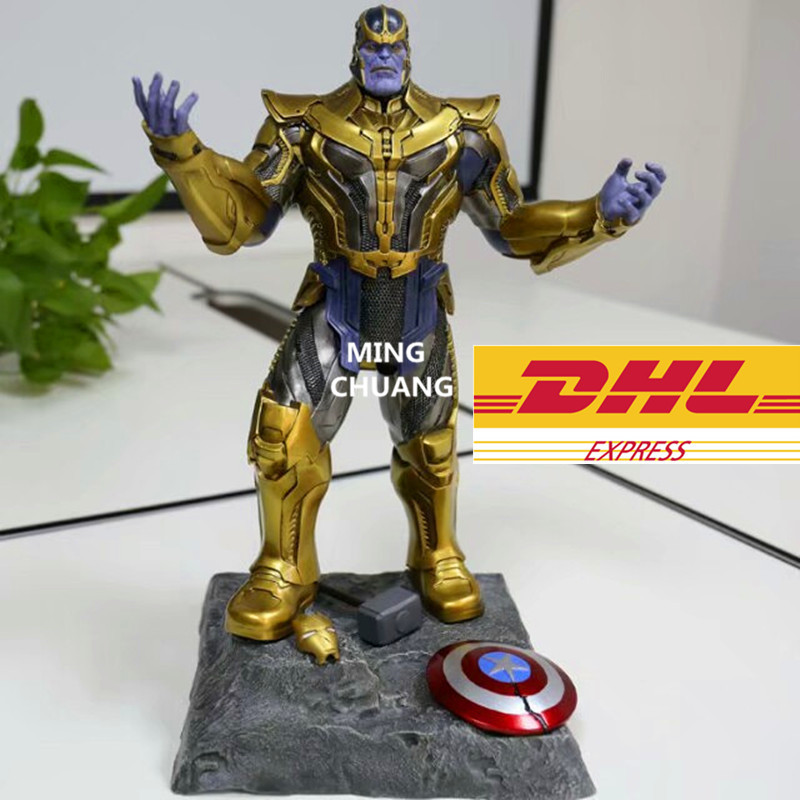 Avengers Infinity War Statue Superhero Full-Length Portrait Ultimate BOSS Supervil Invincible Thanos Bust Resin Action FigureToy god of war statue kratos ye bust kratos war cyclops scene avatar bloody scenes of melee full length portrait model toy wu843