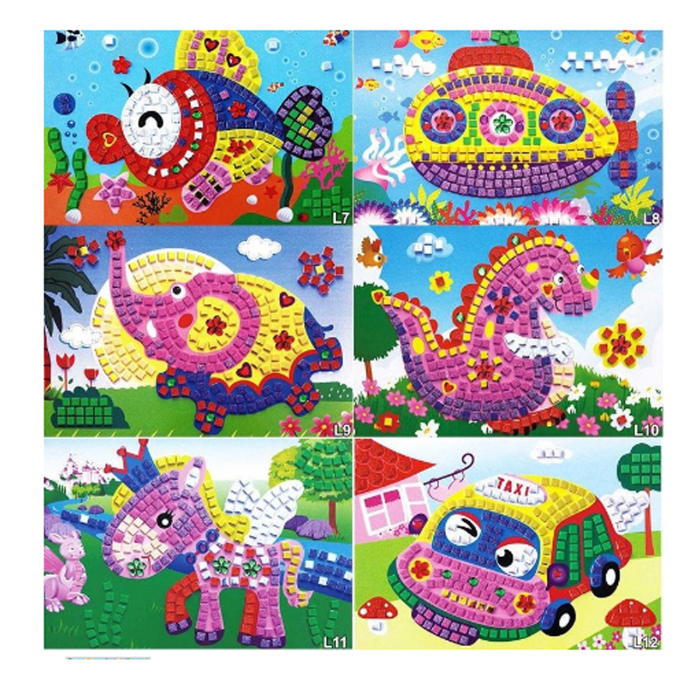 Color Random 1 PC Large Eva Mosaic Art Sticker Children Early Learning Educational Puzzle Kindergarten font