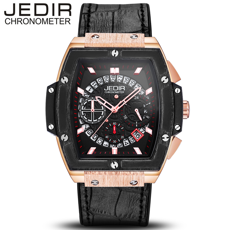 JEDIR Men Watch Luxury Casual Sport Waterproof Quartz-Watch Leather Watches Relogio Masculino 2017 Clock erkek saat N24 jedir 3010 male quartz watch