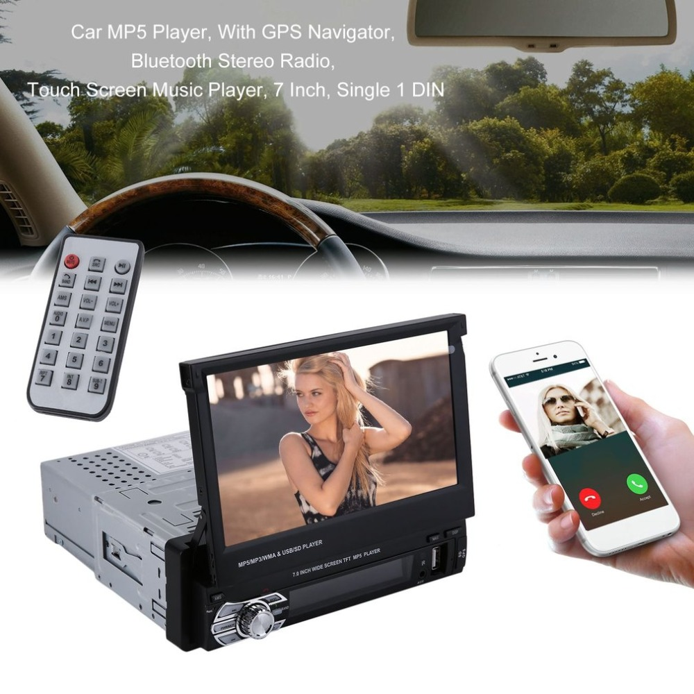 Free shipping Single 1 DIN Car MP5 Player With GPS Navigator 7 Inch Bluetooth Stereo Radio Touch Screen Music Player FM Radio old version degen de1103 1 0 ssb pll fm stereo sw mw lw dual conversion digital world band radio receiver de 1103 free shipping