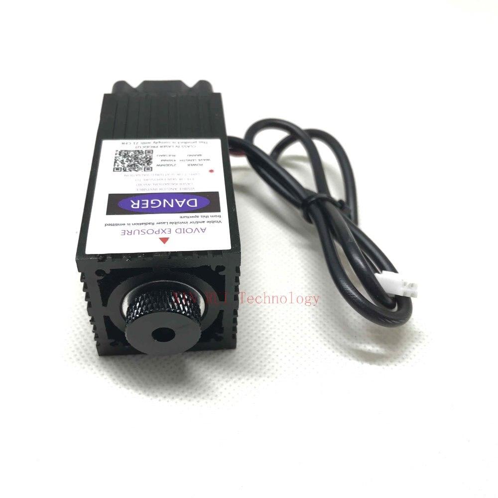 2500 mw 450NM mise au point bleu violet module laser de gravure, 2.5 w laser tube diode hx2.54 2 p port + des lunettes de protection