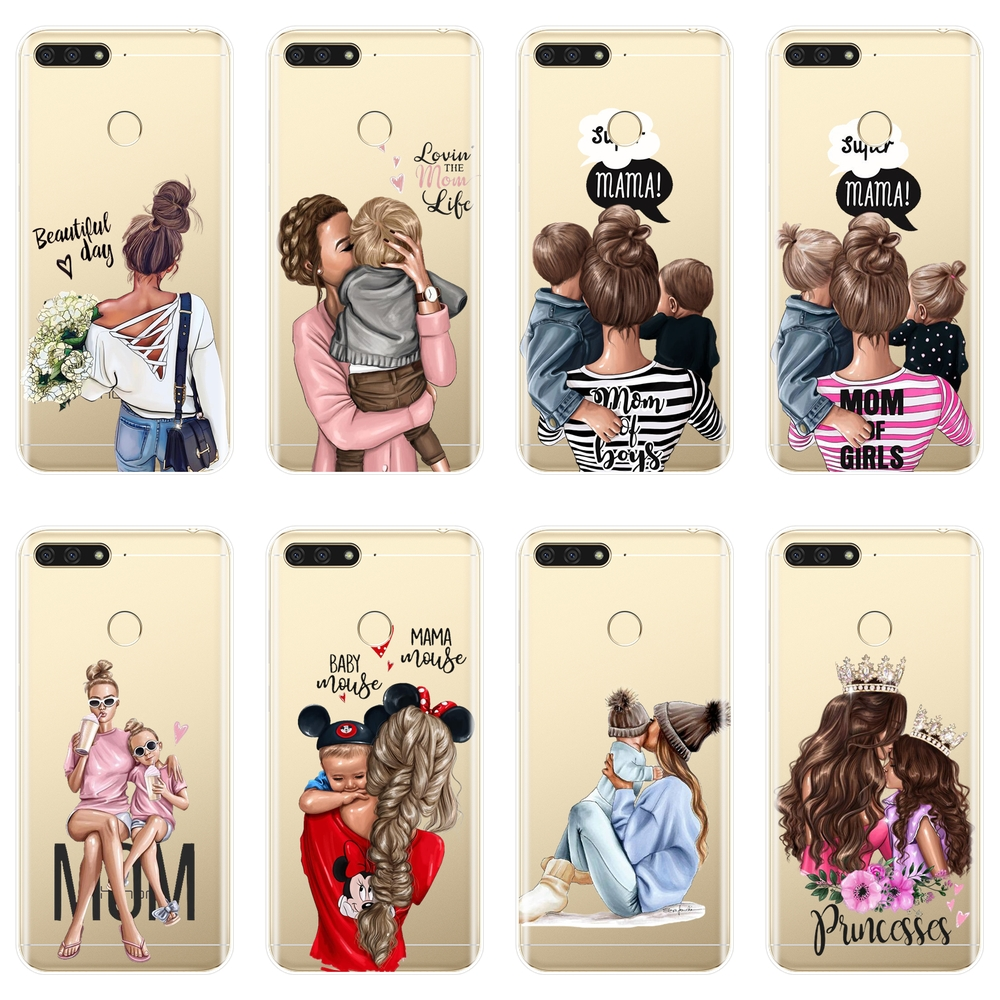TPU Back Cover For <font><b>Huawei</b></font> Y5 Y6 <font><b>Y7</b></font> Prime 2018 Y9 <font><b>2019</b></font> Baby <font><b>girl</b></font> Women Mom Phone <font><b>Case</b></font> Silicone For <font><b>Huawei</b></font> Y3 Y5 Y6 <font><b>Y7</b></font> 2017 II Pro image