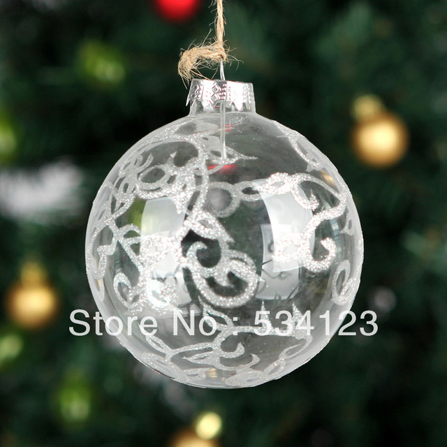 10dia10cm clear glass christmas balls with silver lines christmas tree - Glass Christmas Balls