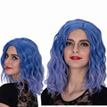 """ECVTOP 14"""" Two Tone Blue Curly Wig New Fashion Women Daily Wear or Cosplay In Halloween Party"""