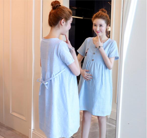 Women maternity dresses embroidery 100% cotton pregnancy dress summer ladies pregnant clothes plus size