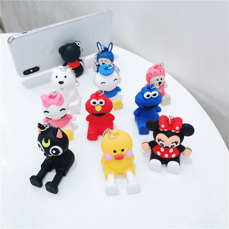 QIKEFANG Phone Holder Cute Cartoon Support Resin Mobile Phone Holder Stand Sucker Tablets Desk Design For Iphone 7 8 X Bracket