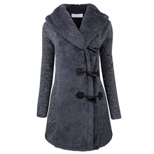 New Velvet Hooded Jacket Autumn Winter Female Jackets Women Navy Wool Coat Jacket Casual Long Trench Horn Buttons European Style