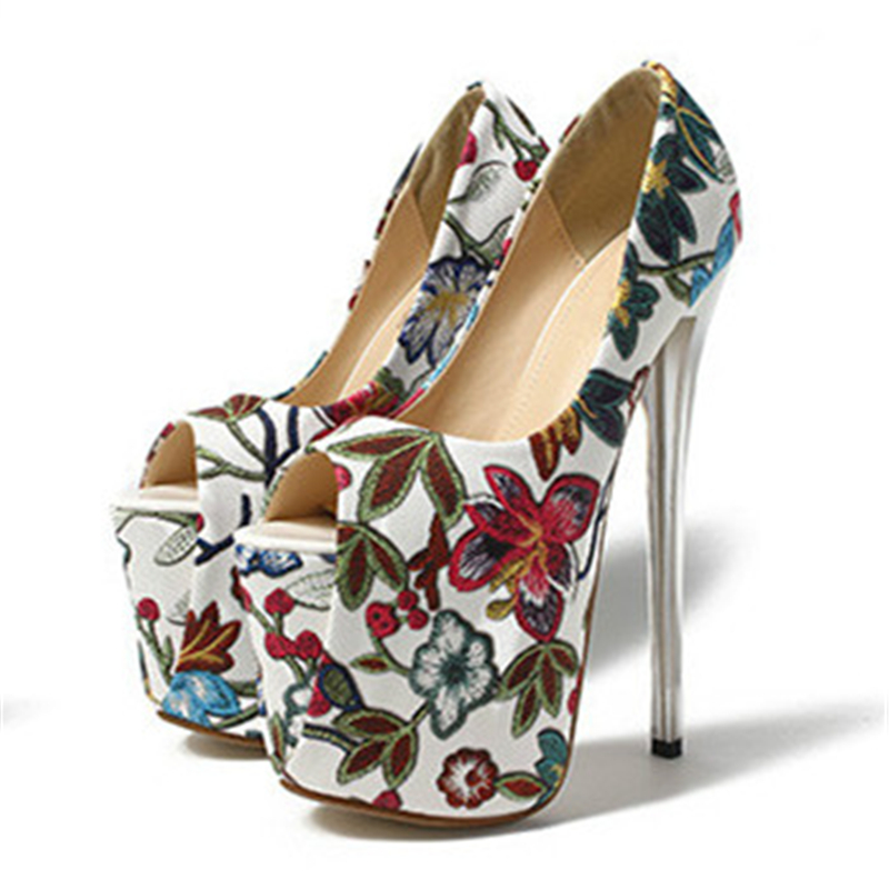 261170d197 Women's ethnic retro vintage print floral peep toe on the platform 19 cm  extreme thin high heels pumps plus size 41 42 43 F28