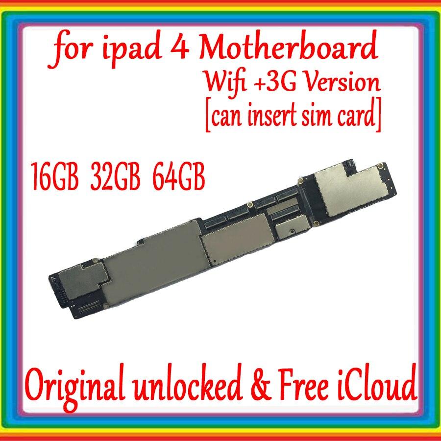 wifi versao wifi 3g versao original placa mae para ipad 4 desbloqueado mainboard para livre icloud