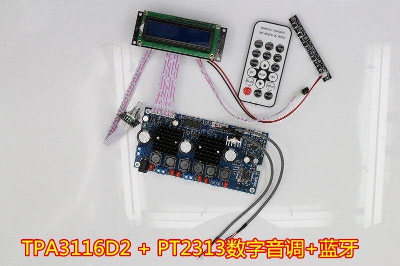 Carte amplificateur 2.1 canaux Bluetooth numérique subwoofer TPA3116D2 + PT2313 tonalité numérique 50 W * 2 + 100 W HIFI avec télécommande