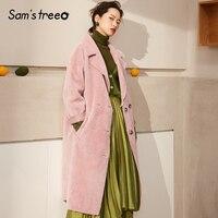 Samstree/осенне зимнее женское замшевое пальто с отложным воротником, женское розовое длинное пальто в Корейском стиле, двубортные женские пал