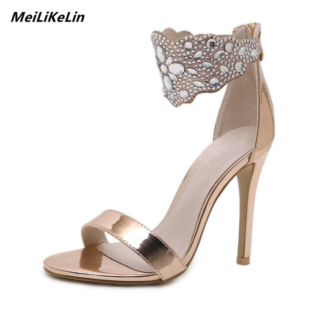1635a1f81816 Dazzling Women Sandals High Heel Rhinestone Sandals Platform Waterproof  Narrow Belt Shoes Women Heels Stage Shoes