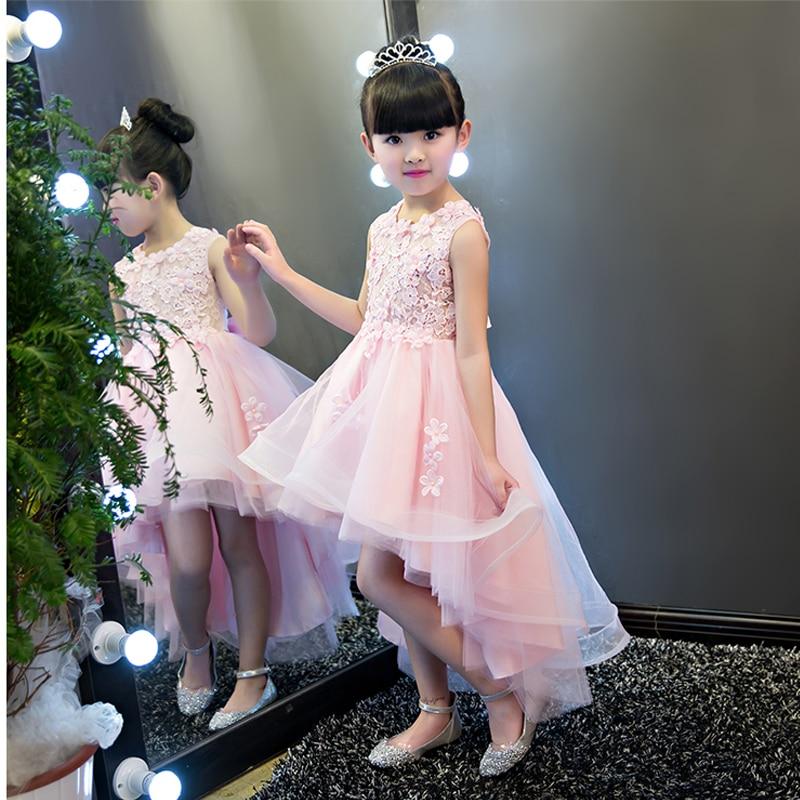 sleeveless mesh flower girls dress 2017 girls ball gown short front long  back beading appliques princess 6dc2a3c2fcc9