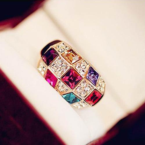 Luxury Colorful Rhinestone Golden Ring