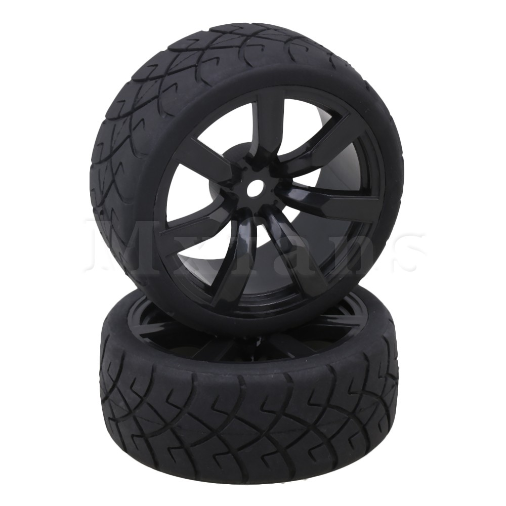 Mxfans Black X Glyph Rubber Tyres with 7 Spoke Plastic Wheel Rims for RC 1:10 On-road Racing Car Pack of 4