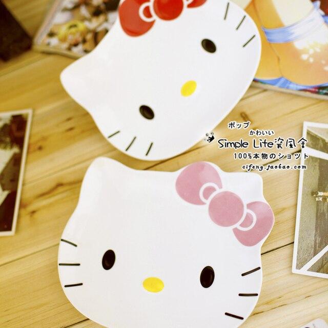 Japanese style ceramic tableware hellokitty stereo plate weidie plate Large