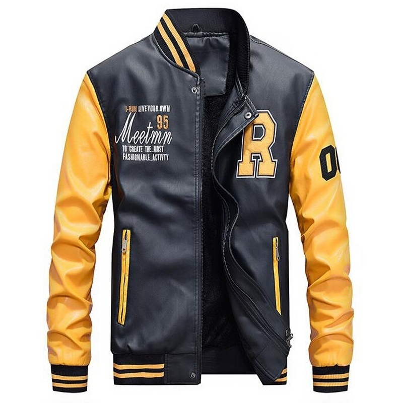 Baseball Jacket Stand-Collar Pu-Coats Pilot Slim-Fit Fleece Embroidered College Men's